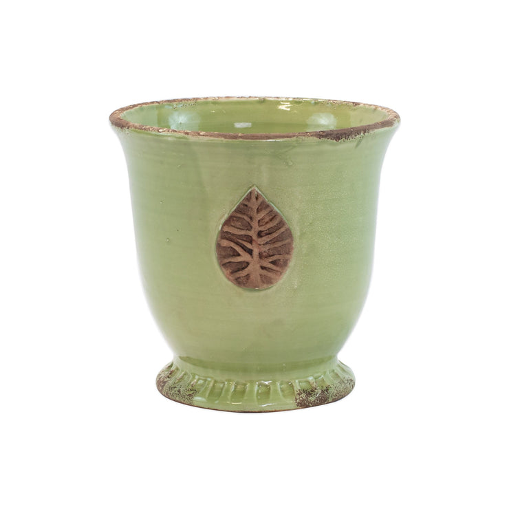 Rustic Garden Pistachio Medium Cachepot with Leaf by VIETRI