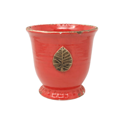 Rustic Garden Red Medium Cachepot w/ Leaf by VIETRI
