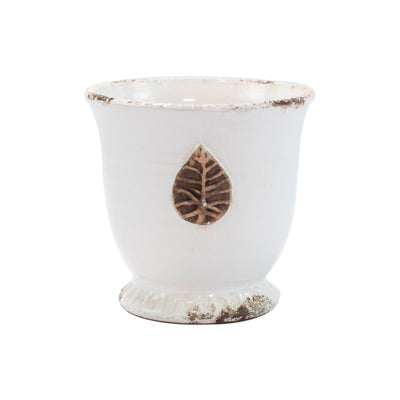 Rustic Garden White Medium Cachepot with Leaf by VIETRI
