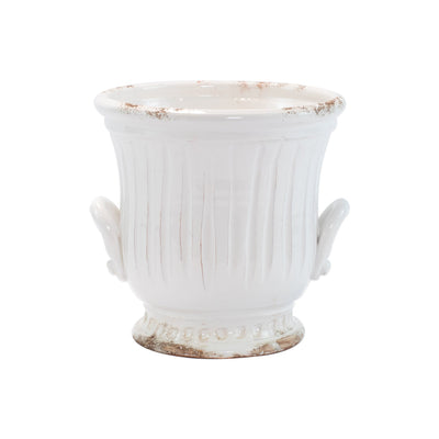 Rustic Garden White Medium Handled Cachepot by VIETRI