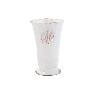 Rustic Garden White Small Ruffle Vase with Emblem by VIETRI