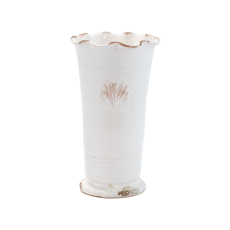 Rustic Garden White Medium Ruffle Vase with Emblem by VIETRI