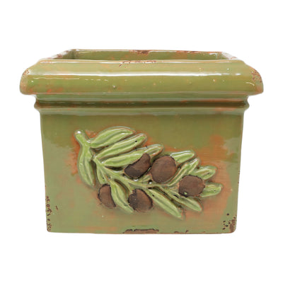 Rustic Garden Olives Green Square Planter by VIETRI
