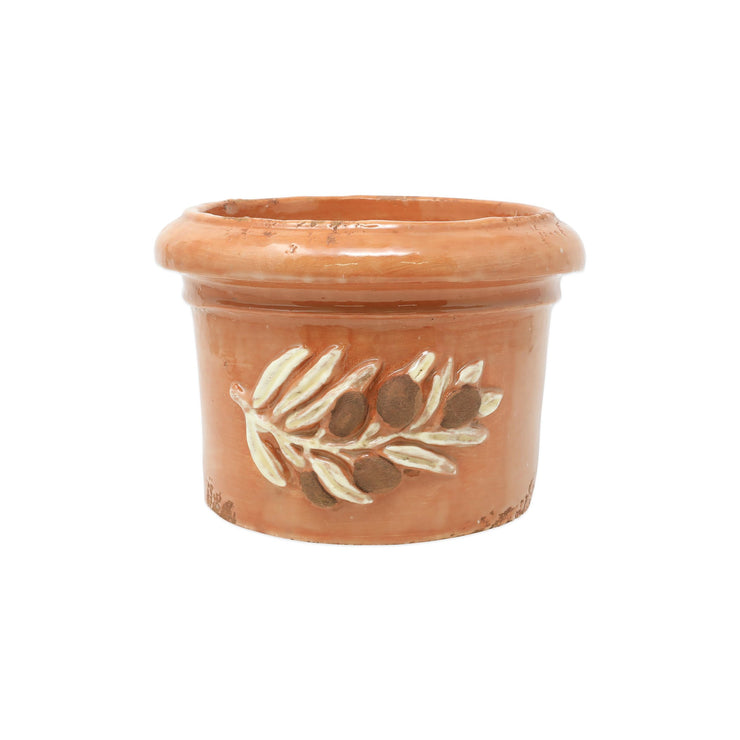 Rustic Garden Olives Brown Round Planter by VIETRI