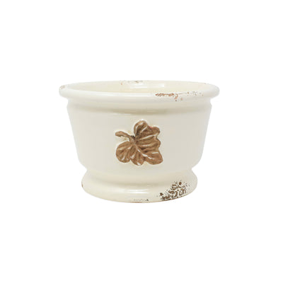Rustic Garden Leaves Small Round Cachepot by VIETRI