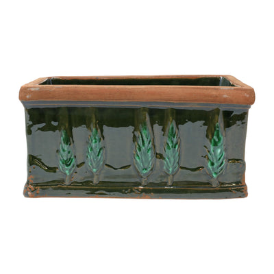 Rustic Garden Cypress Green Small Rectangular Planter by VIETRI