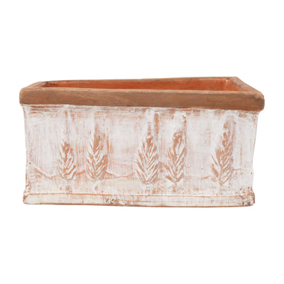 Rustic Garden Winter White Small Rectangular Planter by VIETRI