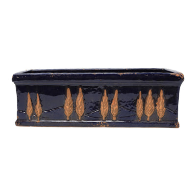 Rustic Garden Midnight Blue Large Rectangular Planter by VIETRI