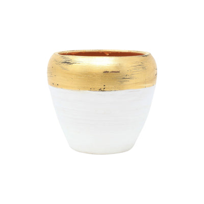 Rustic Garden White & Gold Small Cachepot by VIETRI