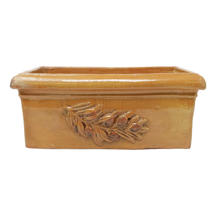 Rustic Garden Olives Yellow Rectangular Planter by VIETRI