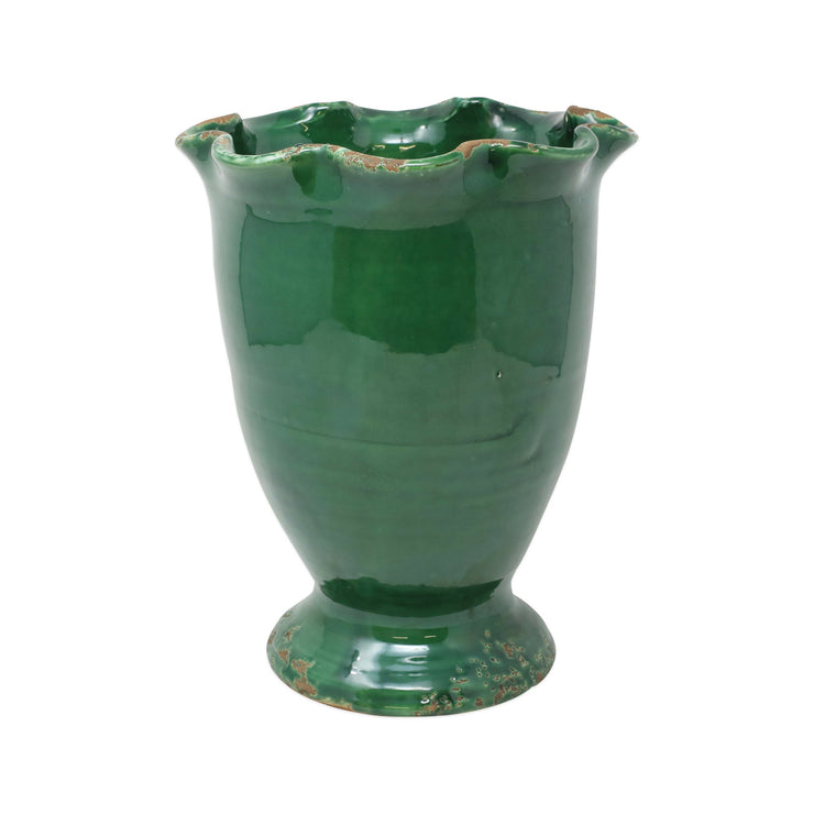 Rustic Garden Emerald Green Medium Ruffled Cachepot by VIETRI