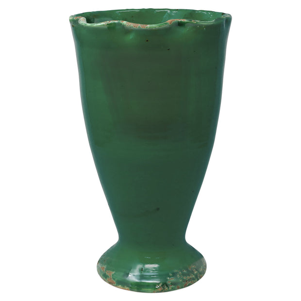 Rustic Garden Emerald Green Ruffled Vase by VIETRI