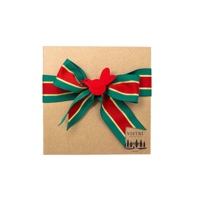 Gift Wrap: Holiday Red & Green Striped Ribbon with Red Bird