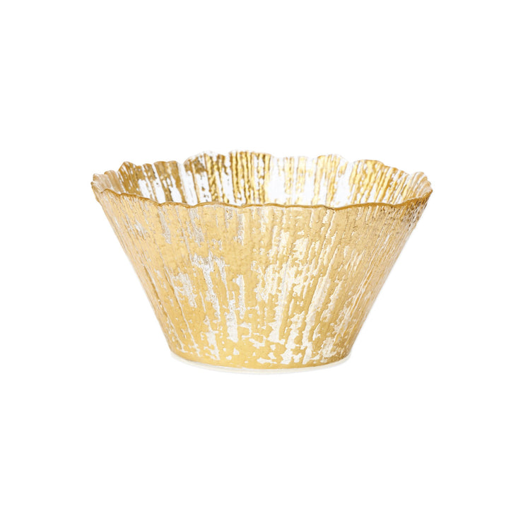 Rufolo Glass Gold Small Deep Bowl by VIETRI
