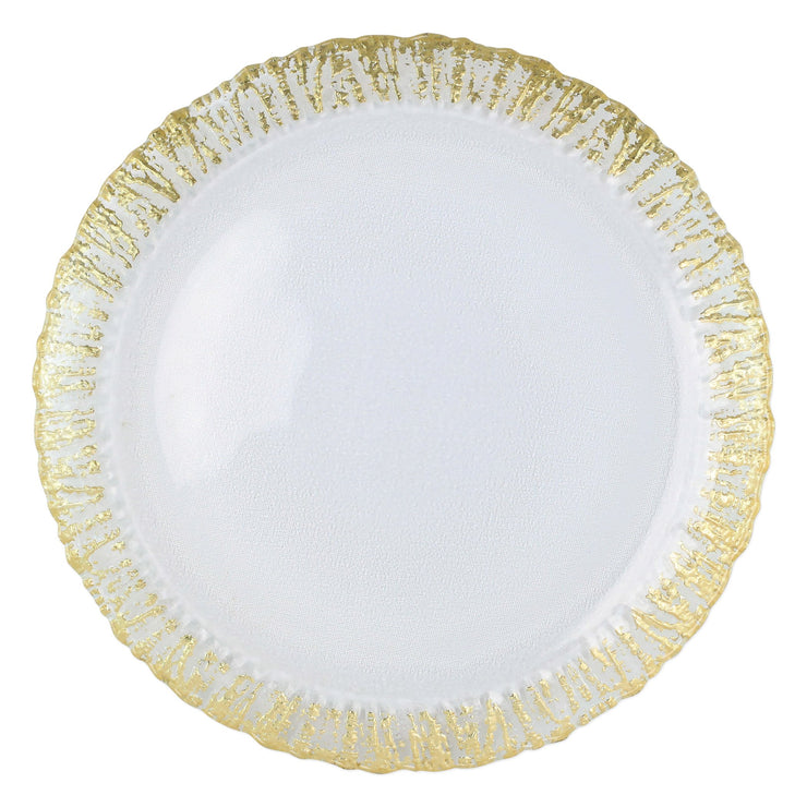 Rufolo Glass Gold Round Platter by VIETRI