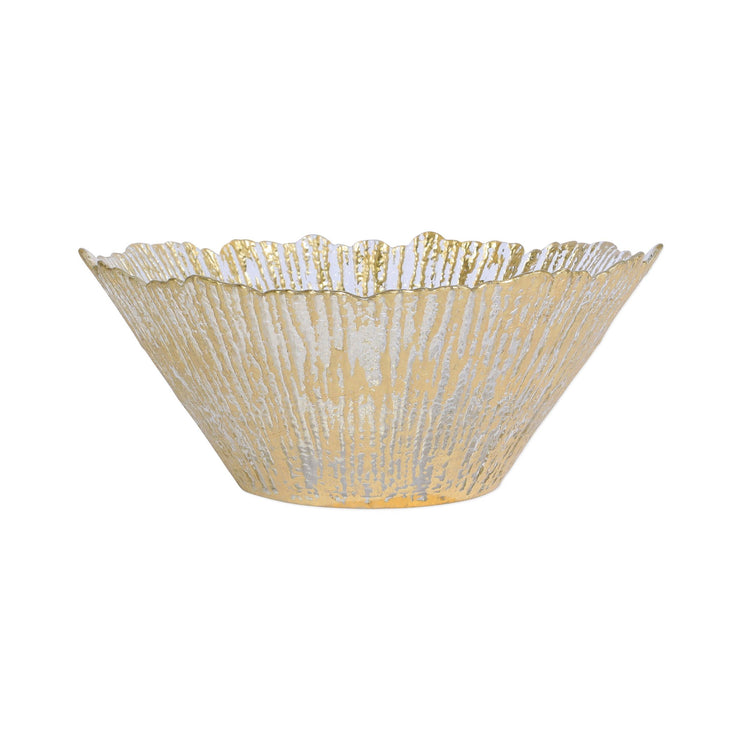 Rufolo Glass Gold Large Deep Bowl by VIETRI