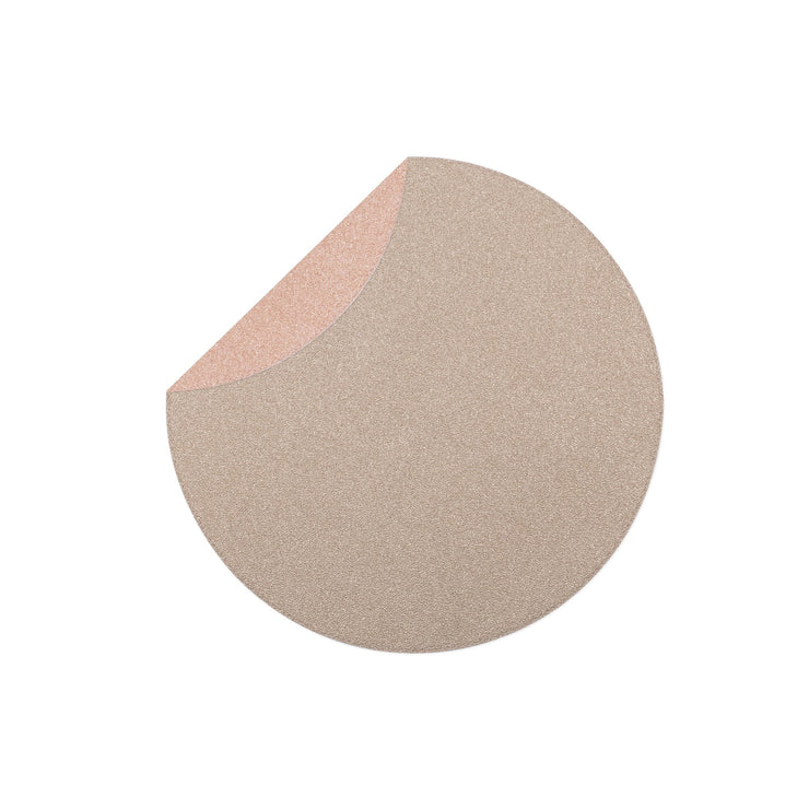 Reversible Placemats Rose Gold/Sand Round Placemat by VIETRI