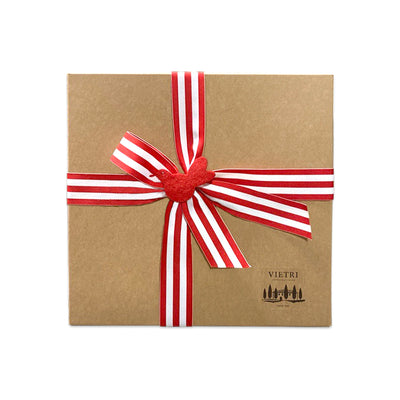 Gift Wrap: Red & White Striped Ribbon with Red Bird