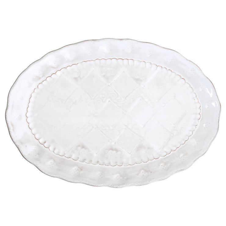 Bellezza Stone White Medium Oval Platter by VIETRI