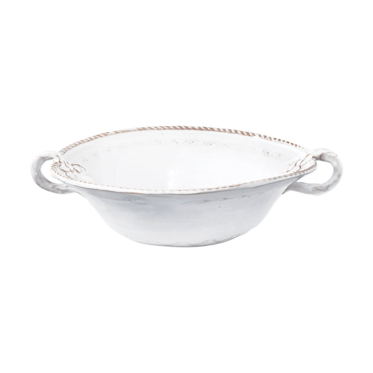 Bellezza Stone White Medium Handled Serving Bowl by VIETRI