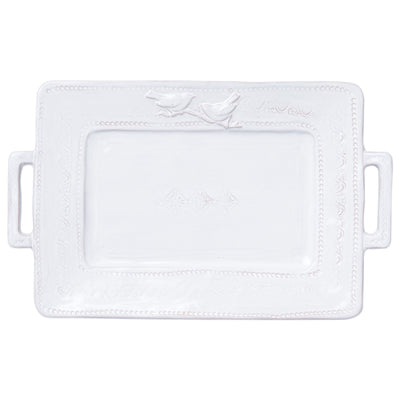 Bellezza Stone White Handled Rectangular Platter by VIETRI