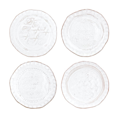 Bellezza Stone White Assorted Canape Plates – Set of 4 by VIETRI