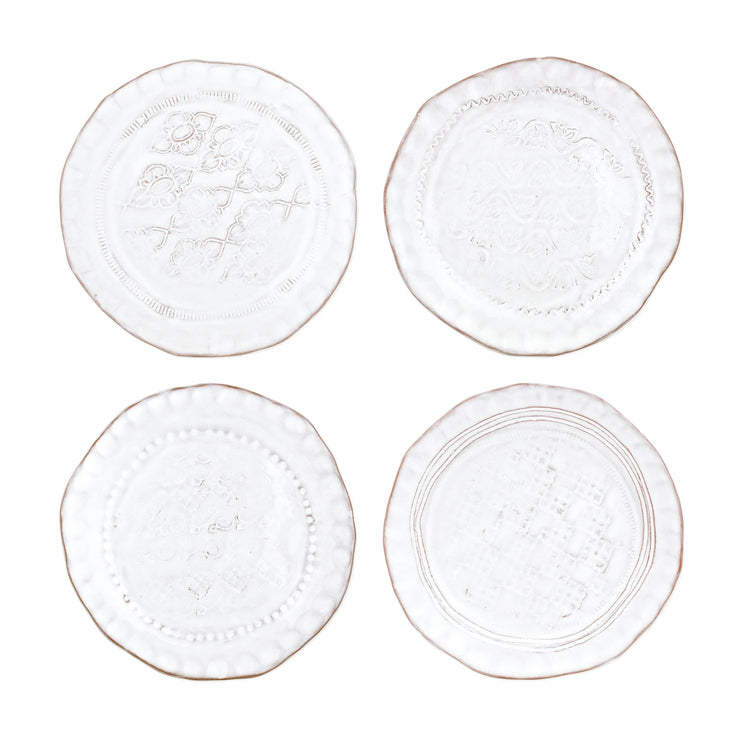 Bellezza Stone White Assorted Canape Plates - Set of 4 by VIETRI