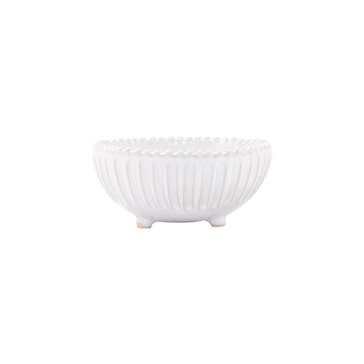 Incanto Stone White Stripe Footed Bowl by VIETRI