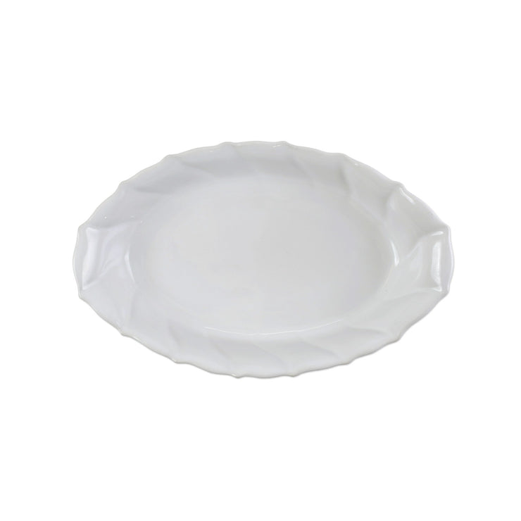 Incanto Stone White Ruffle Handled Oval Baker by VIETRI