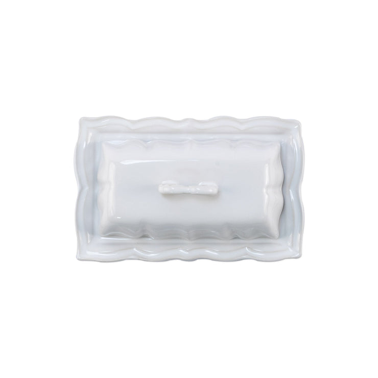Incanto Stone White Baroque Butter Dish  by VIETRI