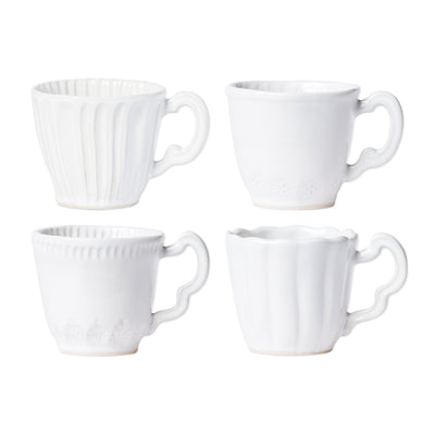 Incanto Stone White Assorted Mugs - Set of 4 by VIETRI