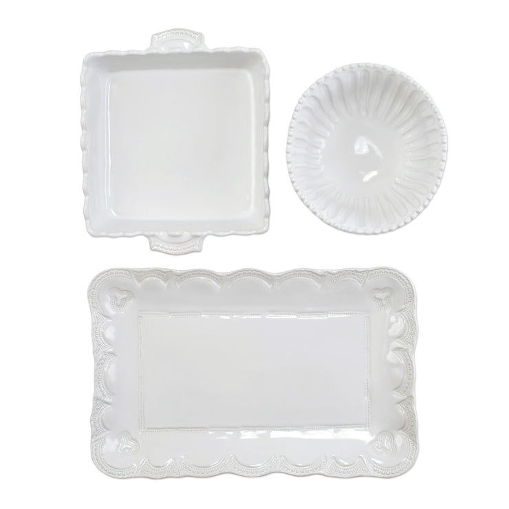 Incanto Stone White 3-Piece Hostess Set by VIETRI