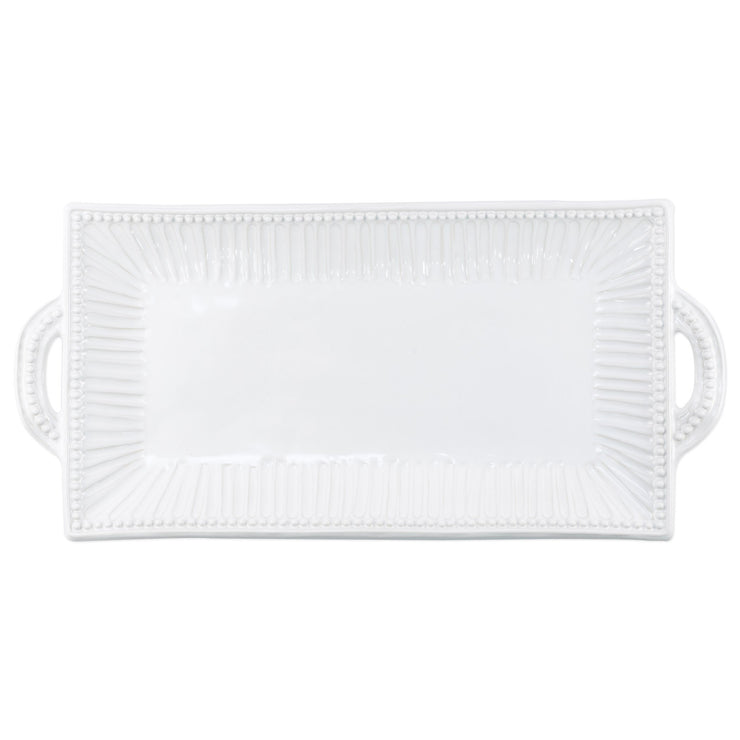 Incanto Stone White Stripe Rectangular Handled Platter by VIETRI