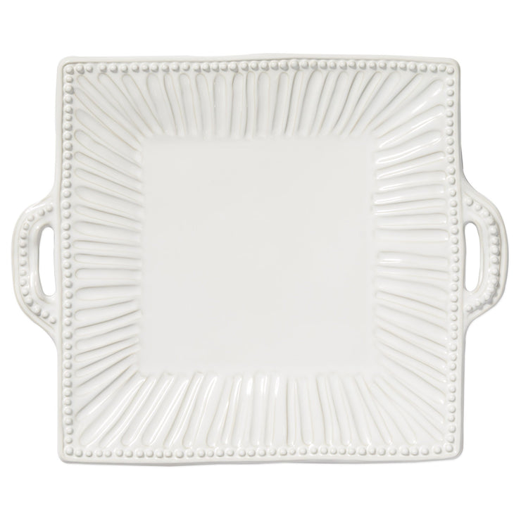 Incanto Stone White Stripe Square Handled Platter by VIETRI