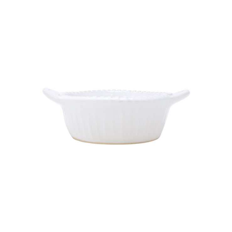 Incanto Stone White Stripe Handled Small Baker by VIETRI