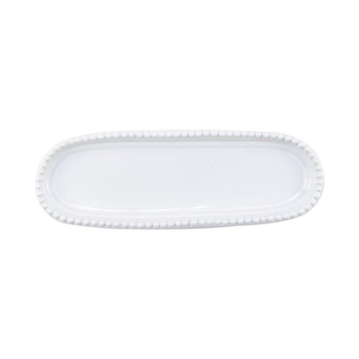 Incanto Stone White Stripe Small Oval Tray by VIETRI