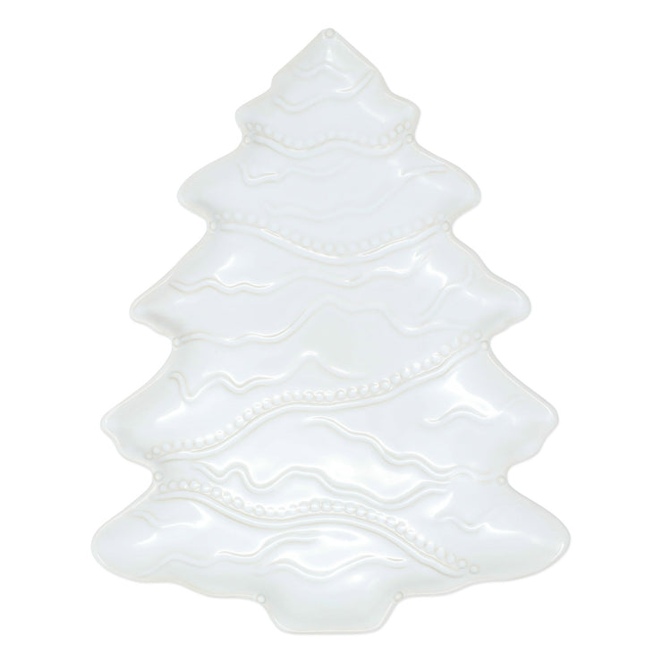 Incanto Stone Winterland White Tree Platter by VIETRI