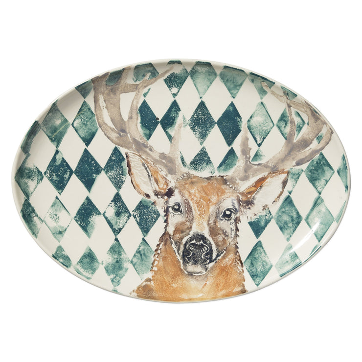 Into The Woods Deer Large Oval Platter by VIETRI