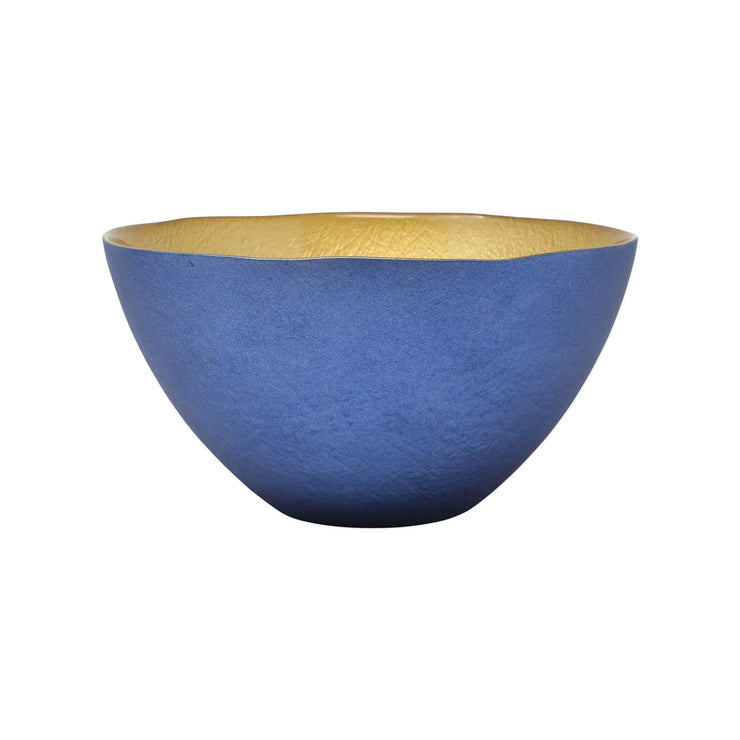 Two-Tone Glass Blue & Gold Small Deep Bowl by VIETRI