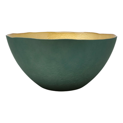 Two-Tone Glass Emerald & Gold Large Deep Bowl by VIETRI