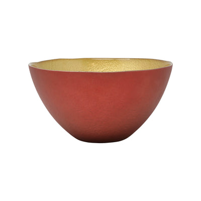 Two-Tone Glass Red & Gold Small Deep Bowl by VIETRI