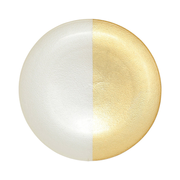 Two-Tone Glass White & Gold Dinner Plate by VIETRI