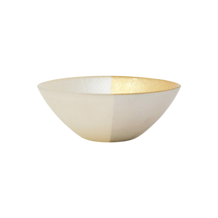 Two-Tone Glass White & Gold Cereal Bowl by VIETRI