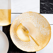 Two-Tone Glass White & Gold Large Bowl