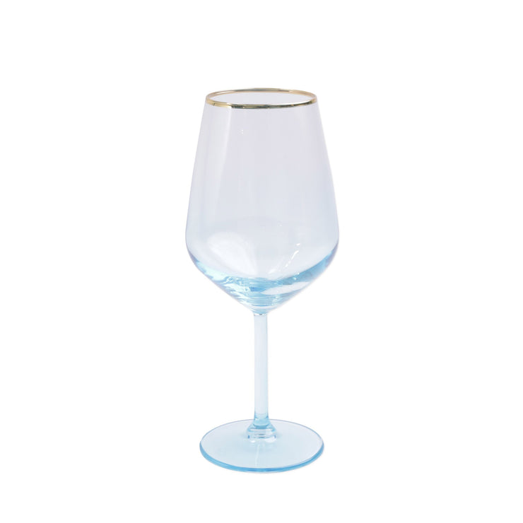 Rainbow Turquoise Wine Glass by VIETRI