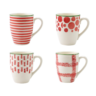 Mistletoe Assorted Mugs - Set of 4 by VIETRI