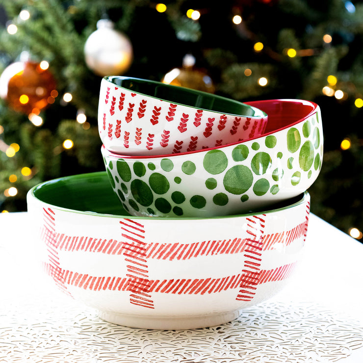 Mistletoe Plaid Large Footed Serving Bowl