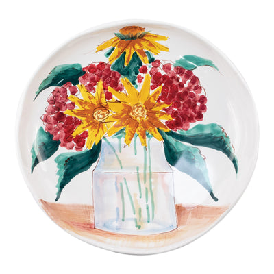 Wall Plates Floral Bouquet Shallow Serving Bowl