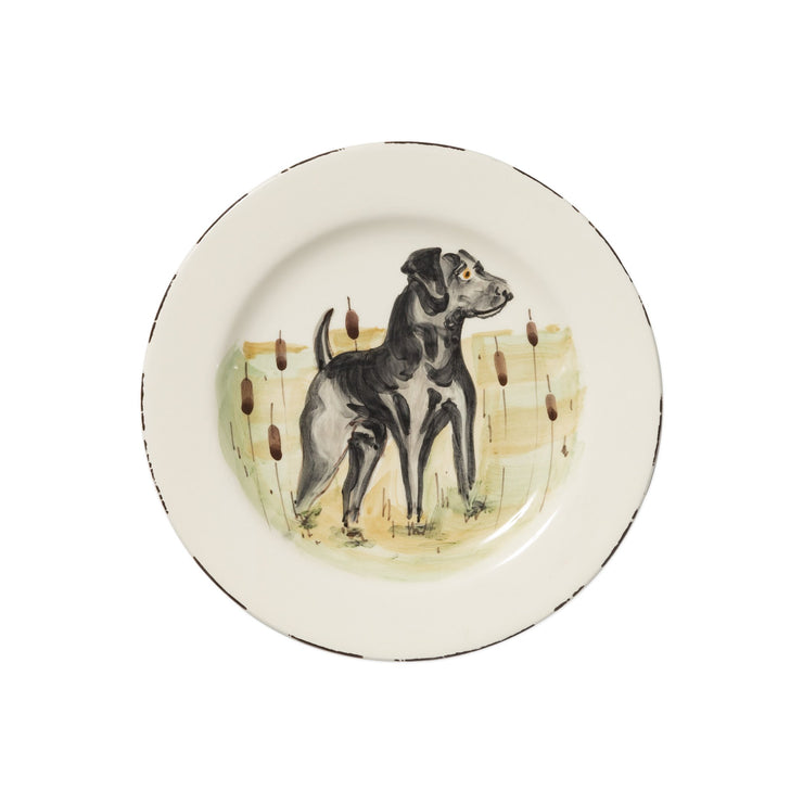 Wildlife Black Hunting Dog Salad Plate by VIETRI