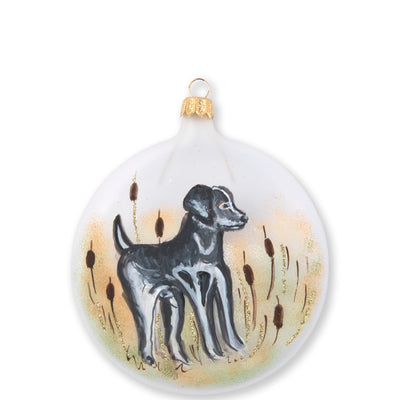 Ornaments Wildlife Black Hunting Dog Disc Ornament